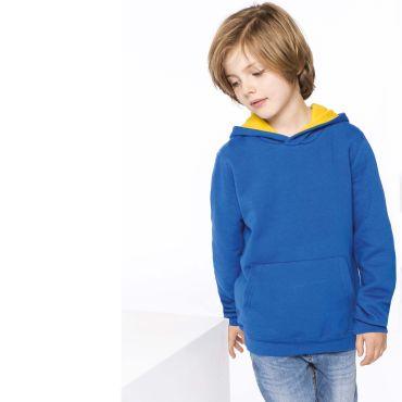 Sudadera con capucha contrastada niño K453 Kariban