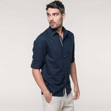 Camisa de lino manga larga hombre K588 Kariban