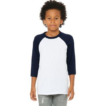 Camiseta baseball manga 3/4 niño 3200Y BASTET BELLA + CANVAS