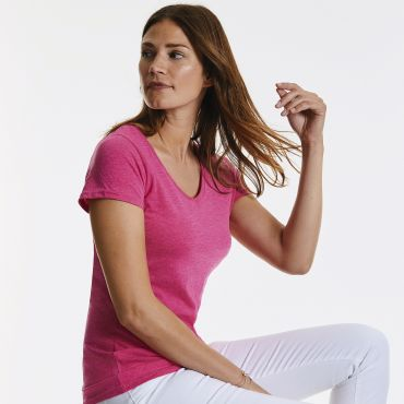 Camiseta cuello pico mujer R-166F-0 HD RUSSELL