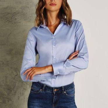 Camisa Oxford de manga larga mujer KK782 OXFORD KUSTOM KIT