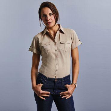 Blusa de manga corta tipo safari mujer R-919F-0 RUSSELL COLLECTION