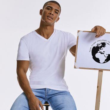 Camiseta cuello de pico orgánica hombre PURE V NECK R-103M-0 RUSSELL PURE ORGANIC