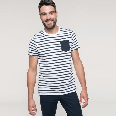Camiseta de rayas con bolsillo hombre K378 Kariban