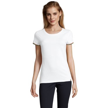 Camiseta básica manga rayada mujer RAINBOW WOMEN SOL'S