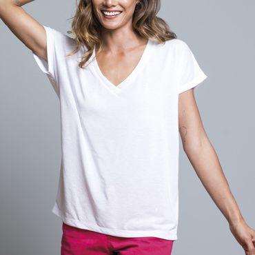 Camiseta cuello de pico para sublimar mujer SUBLI FLOWY JHK T-SHIRT