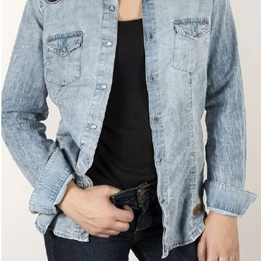 Camisa vaquera bleach blue mujer DOLLY CAPITAN DENIM - WATUSI