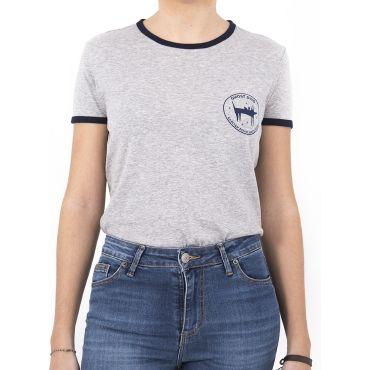 Camiseta ringer ghost Dog Gris/Marino mujer GHOST DOG CAPITAN DENIM - WATUSI