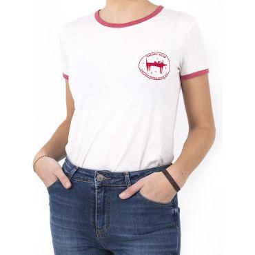 Camiseta ringer ghost Dog Blanco/Fresa mujer GHOST DOG CAPITAN DENIM - WATUSI
