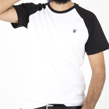 Camiseta beisbolera negro/blanco hombre VINTAGE BASEBALL CAPITAN DENIM - WATUSI